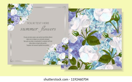 Vector banners set with roses and hydrangea flowers.Template for greeting cards, wedding decorations, invitation ,sales. Spring or summer design. Place for text.