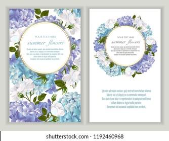 Vektorbanner mit Rosen und Hydrangea-Blumen.Vorlage für Grußkarten, Hochzeitsdekorationen, Einladung, Verkauf. Frühlings- oder Sommerdesign. Platz für Text.