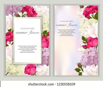 Vektorillustration Banner mit Rosen, Hydrangea und Tulpen Blumen.Vorlage für Grußkarten, Hochzeitsdekorationen, Einladung, Verkauf, Verpackung. Frühlings- oder Sommerdesign. Platz für Text.