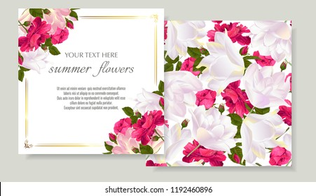 Vector banners set with roses and tulips flowers.Template for greeting cards, wedding decorations, invitation ,sales. Spring or summer design. Place for text.