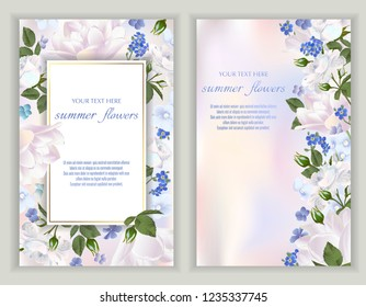 Vector banners set with summer flowers.Template for greeting cards, wedding decorations, invitation, sales, packaging. Spring or summer design. Place for text.