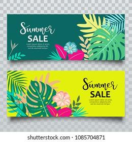 Vector Banners Summer tropical leaf sale collection design, illustration