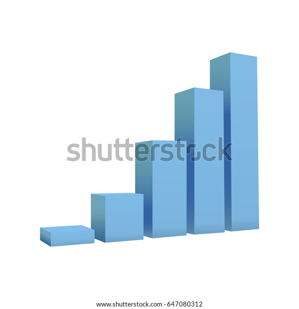 Vector bar chart isolated on white background. Abstract 3D infographic. Design element for business. Vector illustration.
