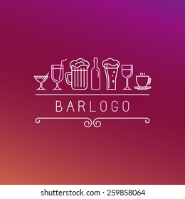 Vector bar logo in linear style - wine and drinks icons and signs
