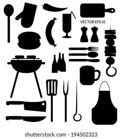 Vector  barbecue icons black