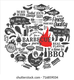 Vector barbecue party invitation. BBQ, meat, vegetables, beer, wine and equipment icons