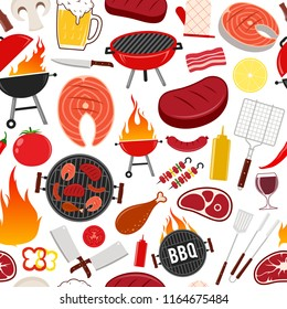 Vector barbecue seamless pattern or background. BBQ, meat, vegetables, beer, wine and equipment icons for cafe, bar and restaurant menu, branding and identity.