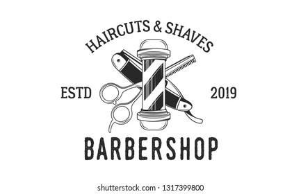 Vector Barber shop vintage logo isolated on a white background.