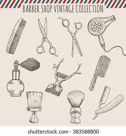 Vector barber shop vintage tools collection (comb, scissors, hair trimmer, razor, shaving brush)