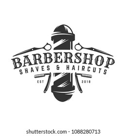 Vector of Barbershop vintage Logo template on isolated white background