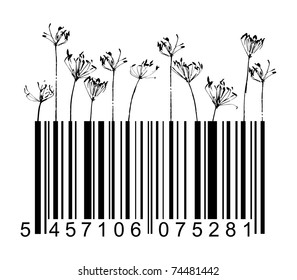 Vector barcode black flowers