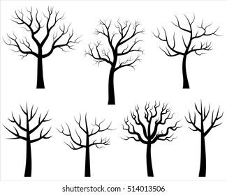 Vector bare tree silhouettes, Black stylized trees without leaves