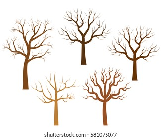 Vector bare trees in brown colors - silhouettes without leaves.