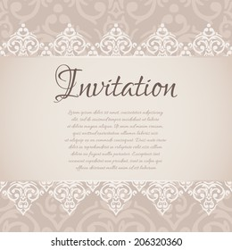 Vector baroque damask luxury invitation