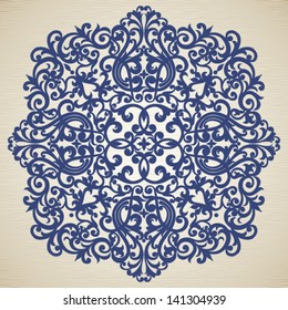 Vector baroque ornament in Victorian style. Element for design. It can be used for decorating of invitations, cards, decoration for bags and clothes.