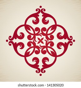 Vector baroque ornament in Victorian style. Element for design. It can be used for decorating of invitations, cards, decoration for bags and clothes, at tattoo creation.