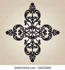 Vector baroque ornament in Victorian style. Element for design. It can be used for decorating of invitations, greeting cards, decoration for bags and clothes, at tattoo creation.