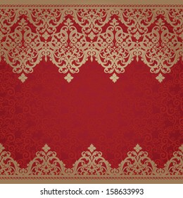 Vector baroque seamless borders in Victorian style. Element for design. You can place the text in an empty place. It can be used for decorating of invitations, cards, decoration for bags and clothes.