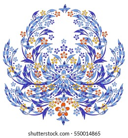 Vector baroque style design with flowers and leaves. Victorian vintage style hand drawn illustration, floral composition in blue, red and yellow colors