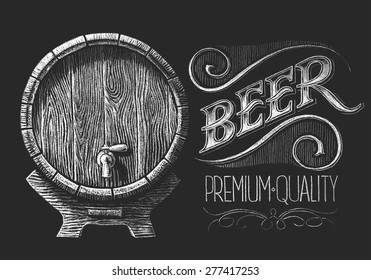 Vector barrel of beer drawn on the chalkboard. Eps8. RGB. One global color. Gradients free. Each elements are grouped separately