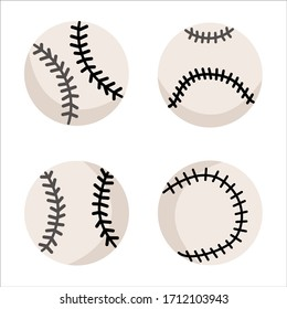Vector baseball ball collection, design at white background