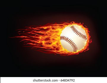 Vector baseball ball in fire isolated on black background.