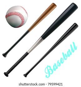 vector baseball and bats
