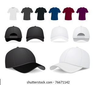 Vector baseball cap and shirt illustration on white background