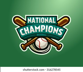 Vector Baseball Logo for a Baseball team. Green vector template. Vector Illustration isolated on green background. Sport Team Identity