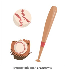 Vector baseball set with glove, ball and bat, illustration in flat style on white background