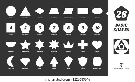 Vector basic simple white silhouette shapes set on a black background. Geometric figures: rectangle, cross, pentagram, hexagram, diamond, heart, drop, arrow, crown, crescent, superellipse and more.