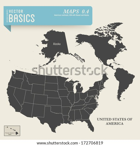 Vector Basics Detailed Map American Continent Stock Vector (Royalty ...