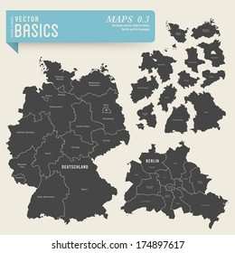 vector basics: maps of Germany with its federal states and Berlin with its boroughs