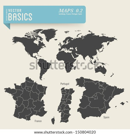 Map Of Spain And France Together.Vector Basics Worldmap Detailed Maps France Stock Vector Royalty