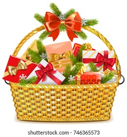 Vector Basket with Christmas Gifts