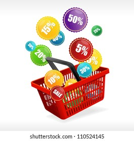 Vector basket and sale labels
