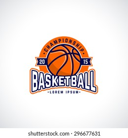 Vector basketball championship logo with ball. Sport badge for tournament or championship