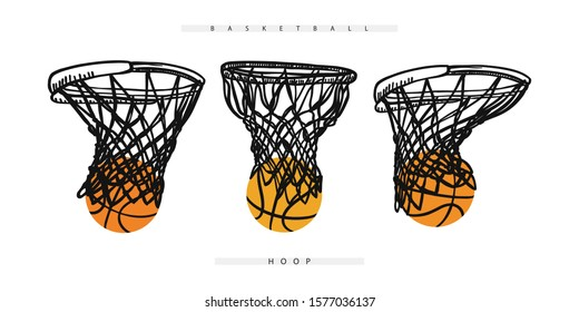 Vector basketball hoop with the ball. Collection of sports elements for the design of banners, posters, flyers.