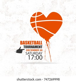 Vector basketball. Love, heart, spray, element for sports design. Grunge texture.