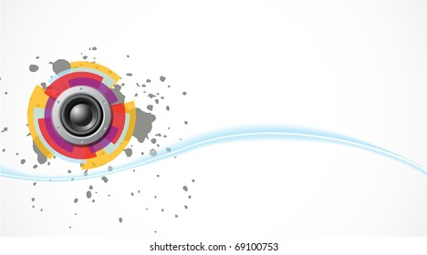 Vector bass background with speaker and wave