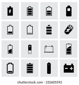 Vector batery icon set on grey background