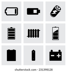 Vector batery icons set on grey background