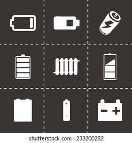 Vector batery icons set on black background
