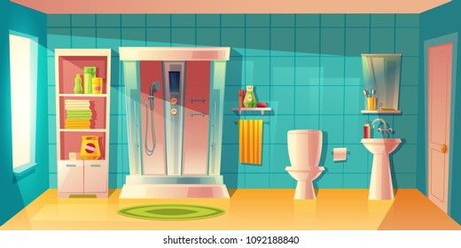 Vector bathroom interior with automatic shower cabin, washbasin. Room with toilet, accessories. Shelves with washing gel, shampoo. Household background in cartoon style. Architecture decoration