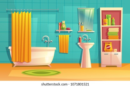 Vector bathroom interior, room with furniture, bathtub, shelves, mirror, faucet, curtain, sink washing gel shampoo Household background cartoon architecture decoration
