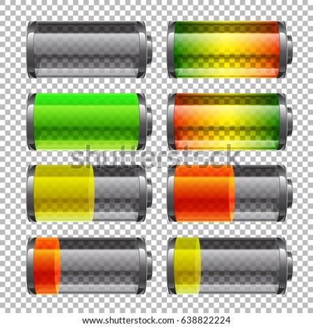 Vector batteries set, full charge. Glass realistic power battery illustration on transparent background.