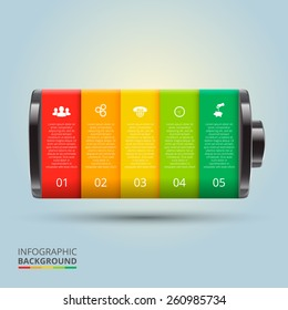 Vector battery element for infographic. Template for diagram, graph, presentation and chart. Business concept with 5 options, parts, steps or processes. Abstract background