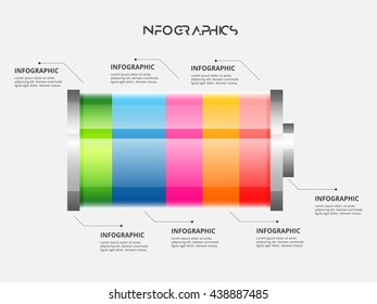 Vector battery element for infographic. Template for diagram, graph, presentation and chart. Business concept with 5 options, parts, steps or processes.