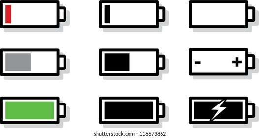 battery icon images stock photos vectors shutterstock https www shutterstock com image vector vector battery gauge symbol icons 116673862