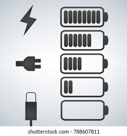 Vector battery icon. Charge from high to low. plug and lightning icon